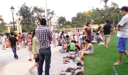 Cỏ nhân tạo sân vườn đã có mặt tại công viên Nghĩa Đô 3