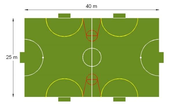 Một số hình ảnh một số bản vẽ cho kích thước sân bóng mini ngoài thực tế cho các trận đấu nghiệp dư: 2