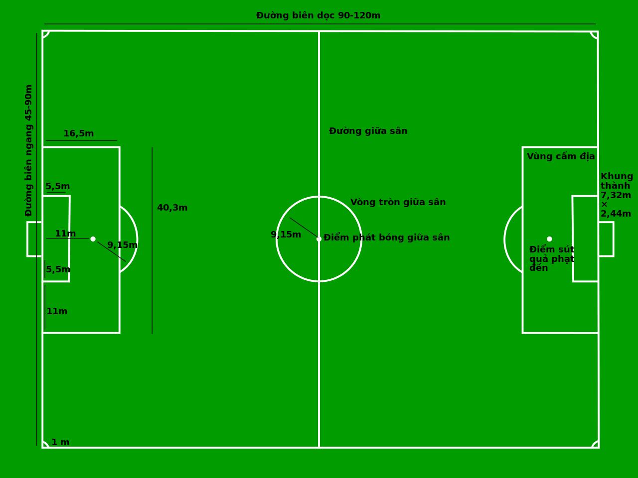 Kích thước sân bóng đá 11 người trong thực tế 1