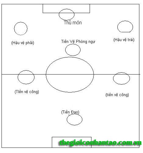 Sơ đồ chiến thuật cho trận đấu trên sân bóng 7 người 1