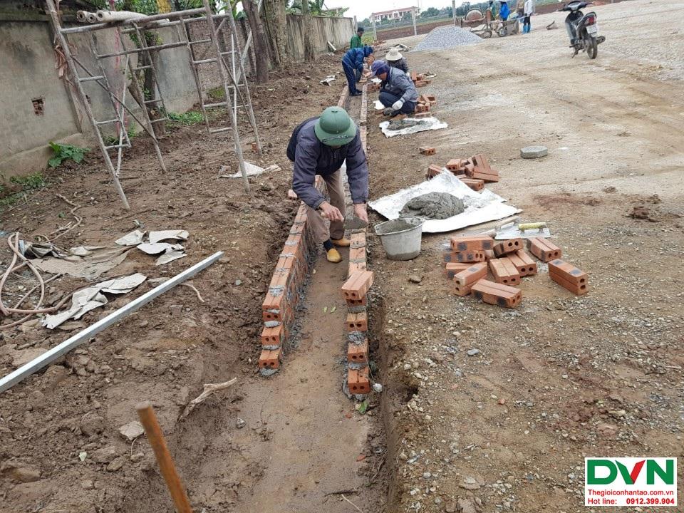 Thi công sân bóng đá cỏ nhân tạo Nam Giang - Nam Định 2