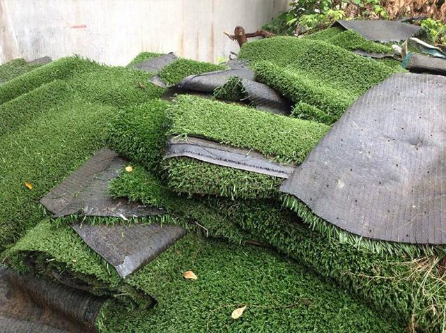 Lớp cỏ cũ đã được bóc đi