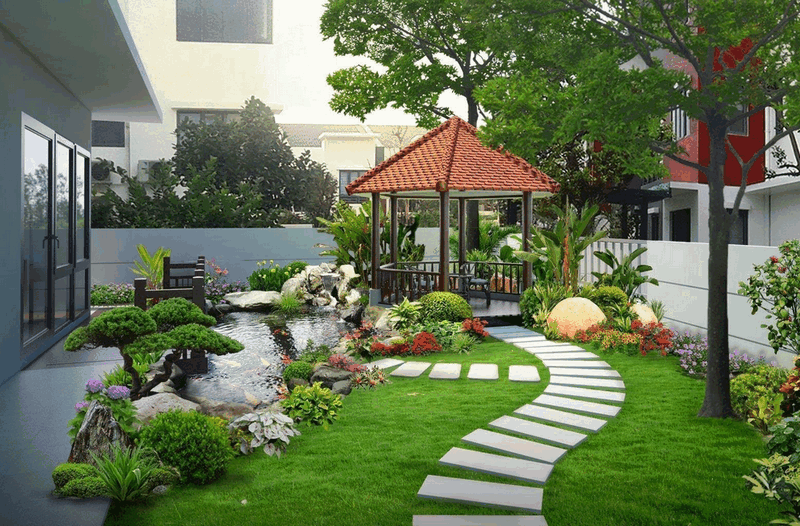 Sân vườn cỏ nhân tạo hiện đại