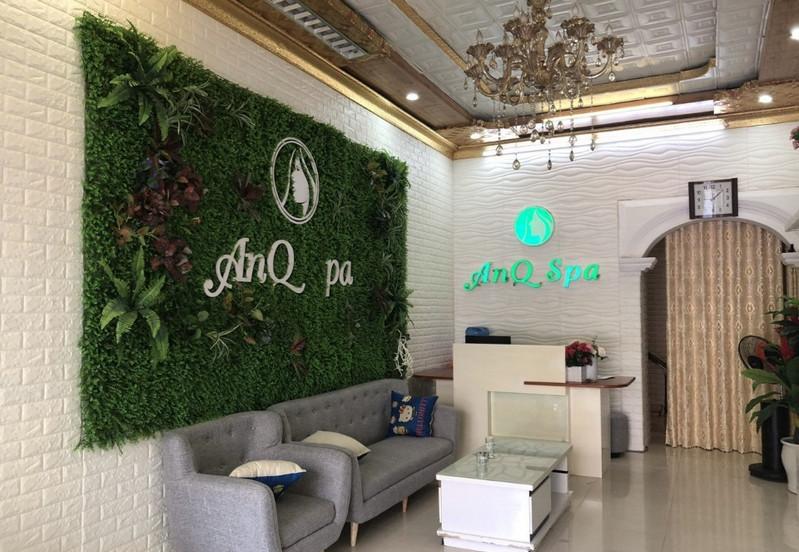 Mẫu cỏ nhân tạo trang trí tường Spa