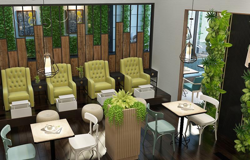 Mẫu cỏ nhựa nhân tạo trang trí không gian tiệm spa