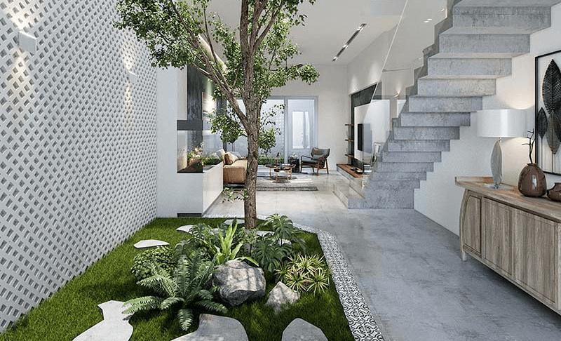 Mẫu tiểu cảnh cây xanh trong nhà