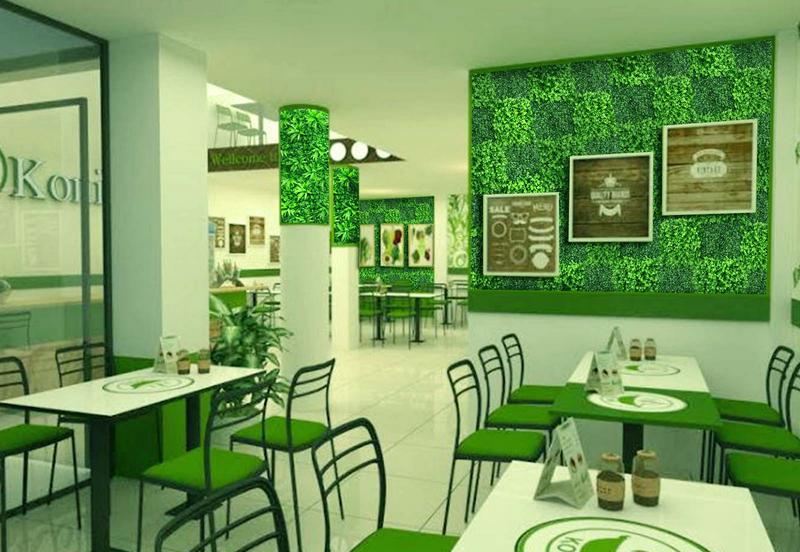 Trang trí không gian Spa ấn tượng với cỏ nhân tạo