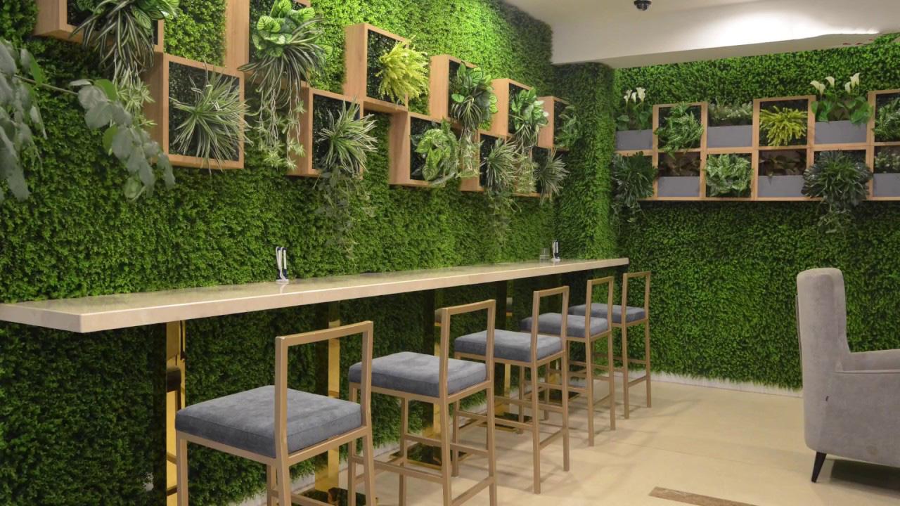 Thảm cỏ nhân tạo ốp tường làm sàn tiểu cảnh